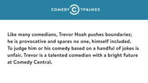 Trevor Noah comedy central reaction