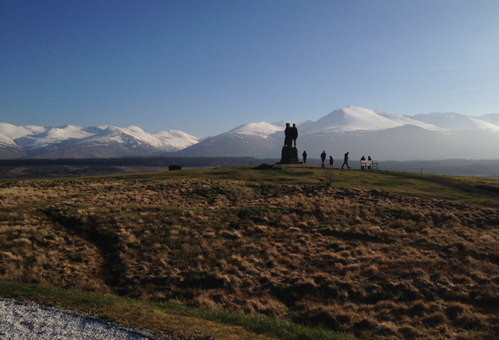 A WW2 Memorial overlooking the majestic Ben Nevis mountain range in the middle of the Scottish highlands.